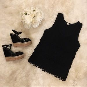 J. Crew Black Tiered Scallop Tank Top.